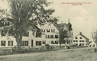 Alfred Shaker Historic District - Main buildings, Shaker Village; from a 1915 postcard