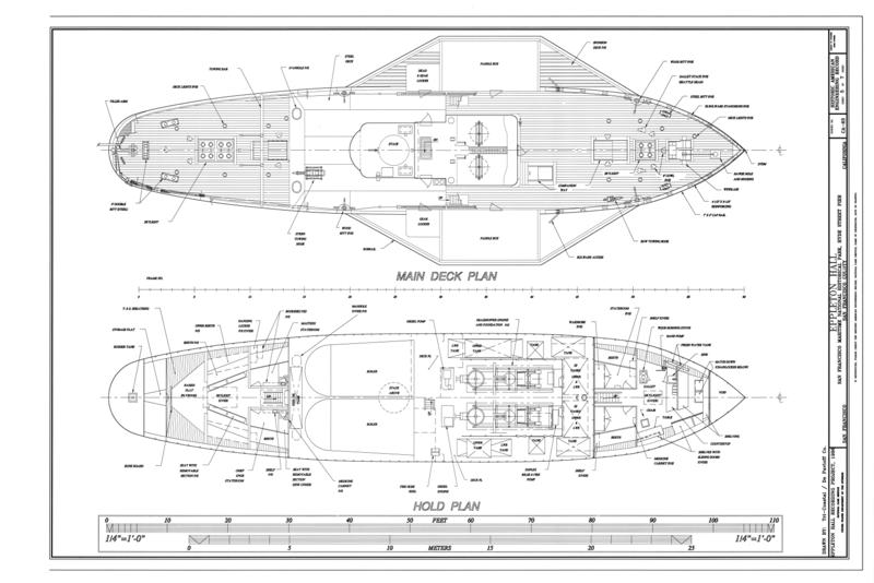 Attēls Main Deck Plan Hold Plan Steam Tug Eppleton Hall