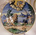 Maiolica di urbino, giove e una ninfa, 1550-74.jpg