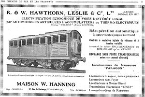 Hawthorn Leslie and Company - Electric battery locomotives in advertisement