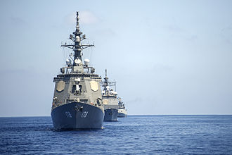 Malabar (Naval Exercise) - Ships of the Indian, Japanese and the U.S. Navies sail together during Exercise Malabar 2014.