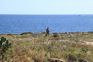 Maltese spring hunting referendum, 2015 - Hunter in Qalet Marku, Naxxar, in spring 2014
