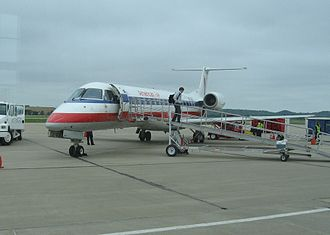 Manhattan Regional Airport - American Eagle Embraer Regional Jet at Manhattan in 2012