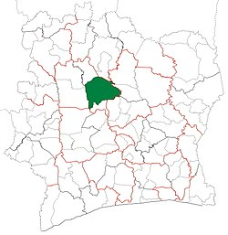 Location in Ivory Coast. Mankono Department has had these boundaries since 2012.
