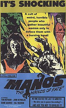 "Poster for film showing a gripping hand in the foreground, and a flame between a woman on the left and apparently the same woman on the left. The top of the poster has the word ""shocking"" in large letters."