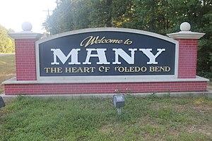 Many, Louisiana - Image: Many, LA, city sign IMG 7198