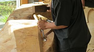 New Zealand Māori Arts and Crafts Institute - Carving in process