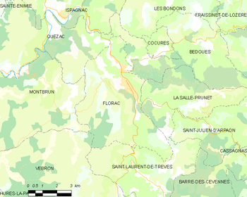 Map of the commune of Florac