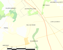 Mapa obce Billy-le-Grand