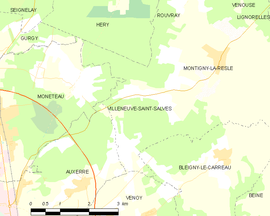 Mapa obce Villeneuve-Saint-Salves