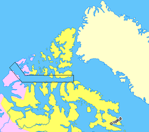 Parry Channel - Map indicating Parry Channel. The east-west part is normally passable in late summer, but the west end which turns northwest (McClure Strait) is normally filled with ice.