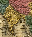 Map of (Thibet) with Lhasa (Lassa) capitol and India (Hindoostan) with Calcutta capitol in 1839 from Mitchell's School Atlas LOC 2007633727-13 (cropped).jpg