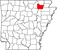 Locatie van Lawrence County in Arkansas