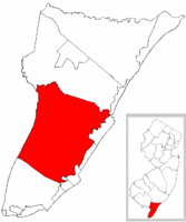 Middle Township highlighted in Cape May County. Inset map: Cape May County highlighted in the State of New Jersey.