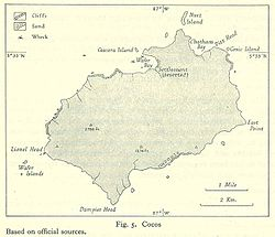 Map of Cocos from Pacific Islands, vol. 2 (Geographical Handbook Series, 1943).jpg