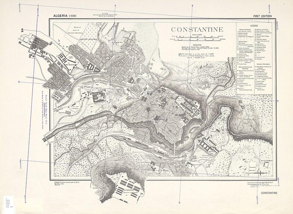 Map of Constantine Algeria 1940s