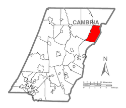 Map of Cambria County, Pennsylvania highlighting Dean Township