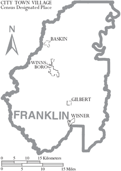 Map of Franklin Parish Louisiana With Municipal Labels.PNG