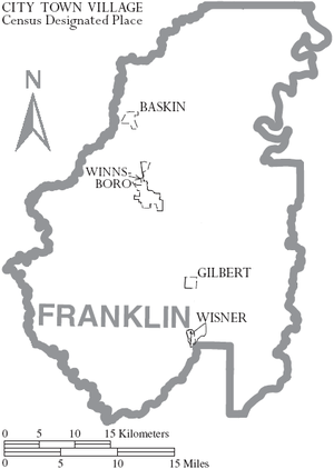 Franklin Parish, Louisiana - Map of Franklin Parish, Louisiana With Municipal Labels