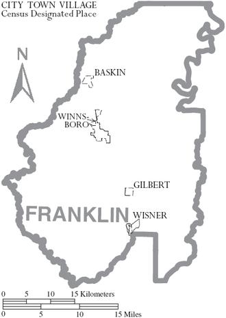 Franklin Parish, Louisiana - Map of Franklin Parish, Louisiana With Municipal Labels