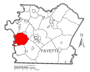 German Township, Fayette County, Pennsylvania - Image: Map of German Township, Fayette County, Pennsylvania Highlighted