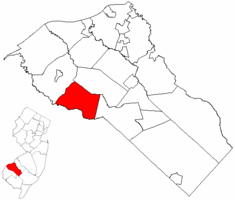 South Harrison Township highlighted in Gloucester County. Inset map: Gloucester County highlighted in the State of New Jersey.