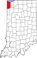 Map of Indiana highlighting Lake County.svg