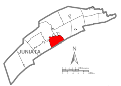 Map of Juniata County, Pennsylvania Highlighting Turbett Township.PNG