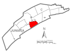 Map of Juniata County, Pennsylvania highlighting Turbett Township