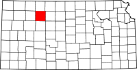 Map of Kansas highlighting Graham County