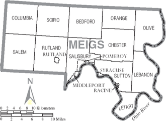 Meigs County, Ohio - Map of Meigs County, Ohio with municipal and township labels