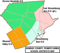 Map of Monroe County Pennsylvania School Districts.png