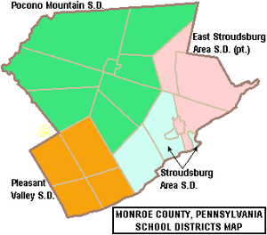 Monroe County, Pennsylvania - Map of Monroe County, Pennsylvania Public School Districts