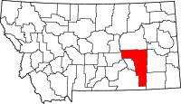 Map of Montana highlighting Rosebud County