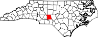 Map of North Carolina highlighting Montgomery County