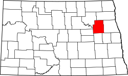 map of North Dakota highlighting Nelson County