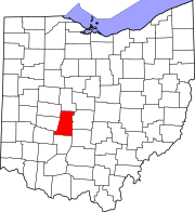 Map of Ohio highlighting Madison County
