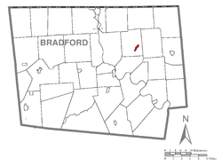 Map of Bradford County with Rome highlighted