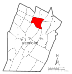 Map of Bedford County, Pennsylvania highlighting South Woodbury Township