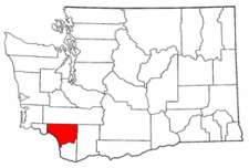 Map of Washington highlighting Cowlitz County