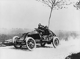Grand Prix motor racing - Marcel Renault during the 1903 Paris Madrid trial.