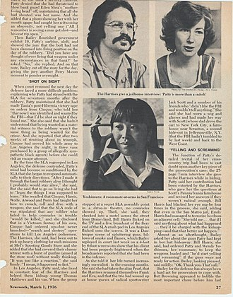 Newsweek - March 1, 1976, story about SLA members Bill and Emily Harris