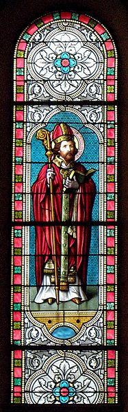 Vitrail de l'église Saint-Martin de Marcillé-la-Ville (53). Saint-Martin.