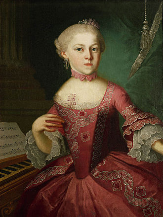 Maria Anna Mozart - Maria Anna Mozart as a child (1763) (portrait said to be by Lorenzoni)