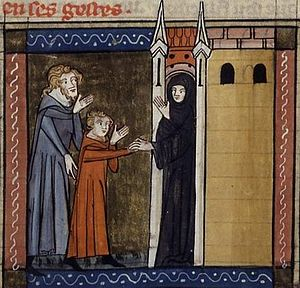 Marina the Monk - Marina (in red) being brought to a monastery by her father Eugenius. 14th century French manuscript.