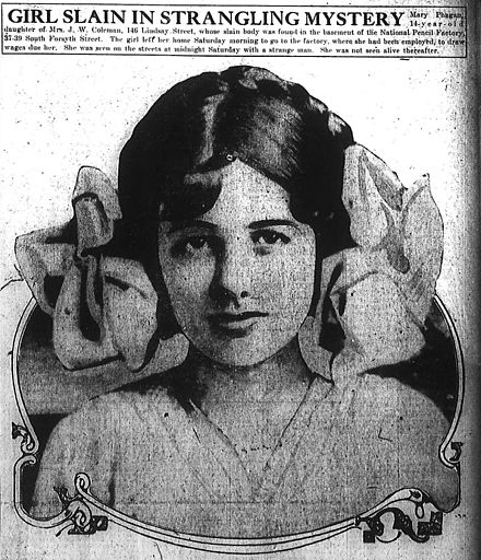 Mary Phagan as depicted in the Atlanta Journal Mary Phagan Atlanta Journal.jpg