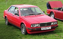 Maserati Biturbo 425 first reg UK March 1988 2491cc photographed at Knebworth 2012.jpg