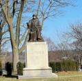 Masked statue of Martin Luther at United Lutheran Seminary-Gettysburg, March 2021.png