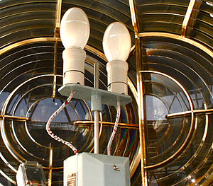 Automatic lamp changer - Lampchanger in the Maughold Head Lighthouse, Isle of Man.  This is a model NALC-89, produced by Nav-Aids Systems, LTD, in Kent, England