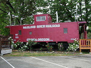 McCloud Railway - A retired caboose in O'Brien, Oregon.